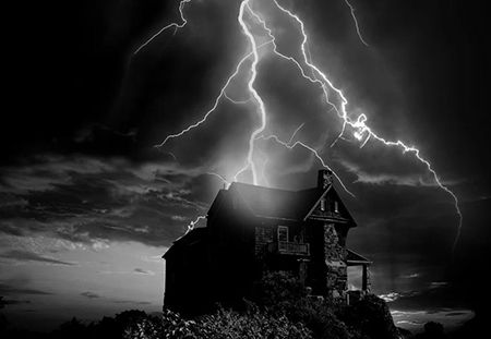 lightening hitting a house